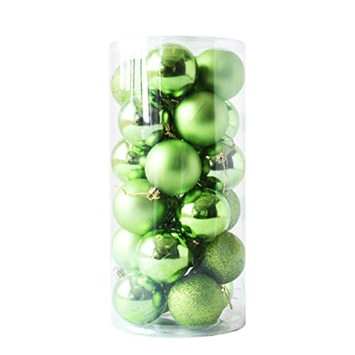 Hollow Polished Green (Inverlee 2.4'' 24pcs Christmas Tree Shiny and Polished Glossy Christmas Ball Bauble Hanging Home Party Ornament Christmas Tree Decor (Green))