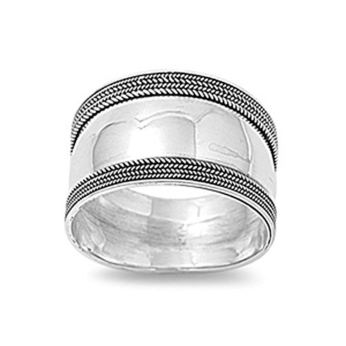Sterling Silver Women's Bali Ring Wide 925 Band Rope Milgrain Look Size 8 (Wide Silver Band)