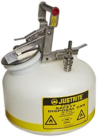 2 Gallon Capacity Justrite PP12752 Centura Disposal Polyethylene Prefabricated Quick-Disconnect Safety Can with Polypropylene Fitting