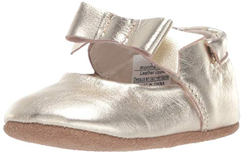 Robeez Girls' Ankle Strap Mary Jane First Kicks Crib Shoe, Sofia Gold, 6-9 Months -
