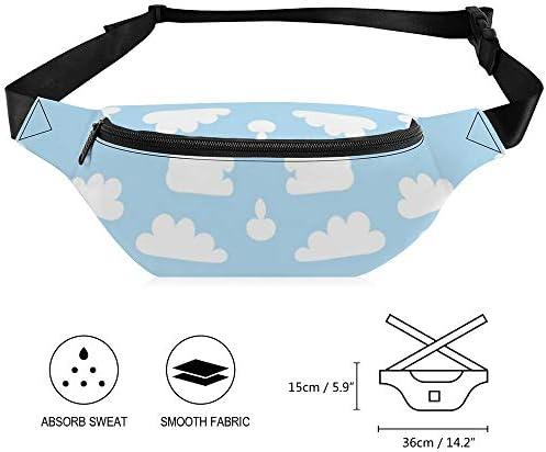 柔らかい青に白い雲 ウエストバッグ ショルダーバッグチェストバッグ ヒップバッグ 多機能 防水 軽量 スポーツアウトドアクロスボディバッグユニセックスピクニック小旅行