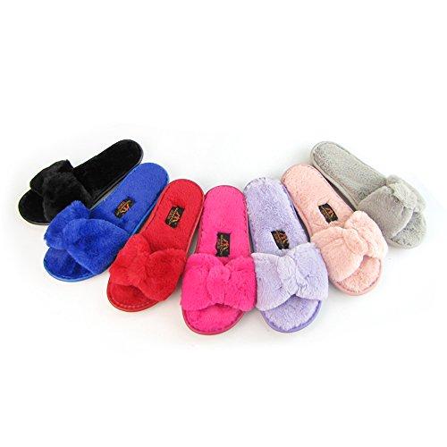 Fourrure Imixcity Bowknot Plat violet Flip A Sliders Slipper Fluffy Femme En Fausse Chaussures Hiver Flop Sandal FSqw0rF