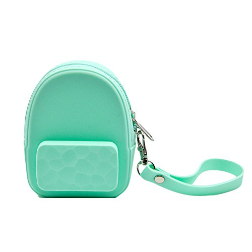 (Mini Backpack Shaped Coin Purse Silicone Keychain Charms Soild Colors(Green))