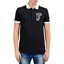 Versace Collection Men's Black Logo Decorated Polo Shirt US M IT 50;