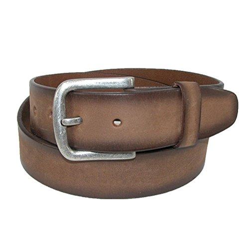CTM Men's Big & Tall Burnished Leather Removable Buckle Bridle Belt, 50, (Burnished Leather)