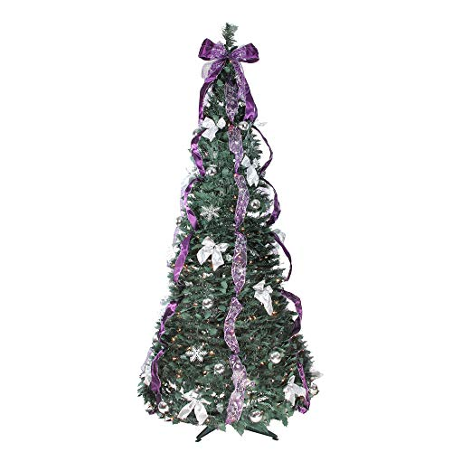 Northlight 6' Pre-Lit Purple and Silver Decorated Pop-Up Artificial Christmas Tree - Clear Lights