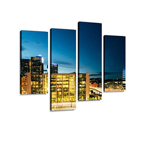 Oslo Norway. Night View of Business Center in Bright Illuminatio Canvas Wall Art Hanging Paintings Modern Artwork Abstract Picture Prints Home Decoration Gift Unique Designed Framed 4 Panel