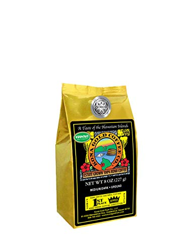 - Kona Gold Coffee Whole Beans - 8 oz, by Kona Gold Rum Co. - Medium/Dark Roast Extra Fancy - 100% Kona Coffee