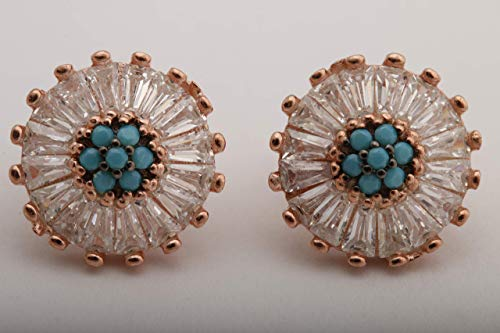 Special Design Round Shape Turquoise Baguette Cut Topaz Turkish Handmade Jewelry 925 Sterling Silver Rose Gold Stud Earrings