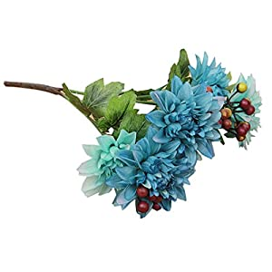 Outtop 6 Heads 14.5 Inch Dahlia Artificial Flowers Bouquets Fake Flower for Home and Wedding Decoration 37