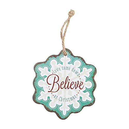 Ornament Wood Snowflake Believe Aqua