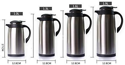 LDATOU 1000 Ml-1900 Ml Fodera in vetro Isolamento di grande capacità Boccette per vuoto Bollitore Caffè in acciaio inossidabile Thermos con acqua calda Brown 1900ml