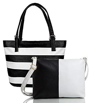 Mammon Women's Letherette Handbag With Sling Bag Combo (Hs-Combo-Belt-Blk, Multicolour)