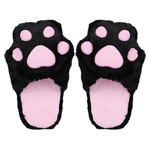 Plush Slipper Warm Fuzzy Cozy Animal Cat Paw House Shoes Support for Women Kids