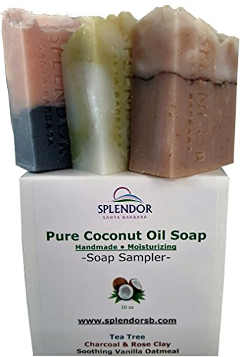 Variety-Soap-Sampler-105-oz-Tea-Tree-Vanilla-Oat-CharcoalRose-Clay-Pure-Coconut-Oil-Soap-Handmade-Vegan-Moisturizing-Natural-Organic-Herbs-Clays-and-Essential-Oils