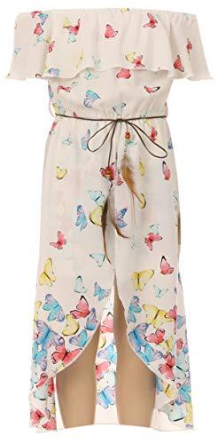 Big Girls 2 Ways Ruffle Hi Lo Maxi Skirt Romper Belt Jumpsuit Butterfly Romper USA Off White 10 - Great Girl Skirt Set Dress