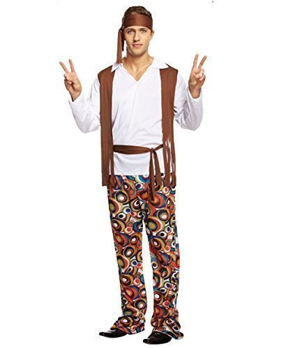 Mens Adult 1960s 60s 70s Groovy Hippy Hippie Stag Do Fancy Dress Costume Outfit by Fancy Me (70s Outfits For Men)