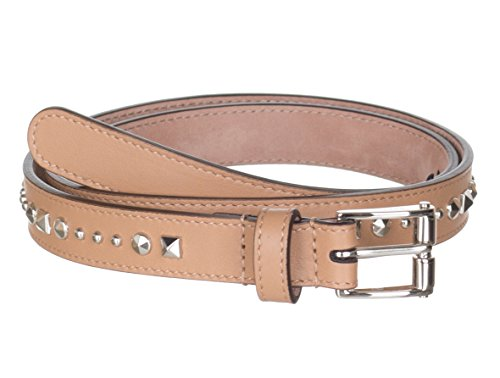 Gucci Women's Beige Studded Leather Slim Belt, 32, Beige by Gucci