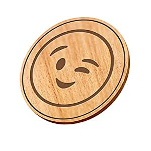 Wooden Coaster With Laser Crafted - Beige