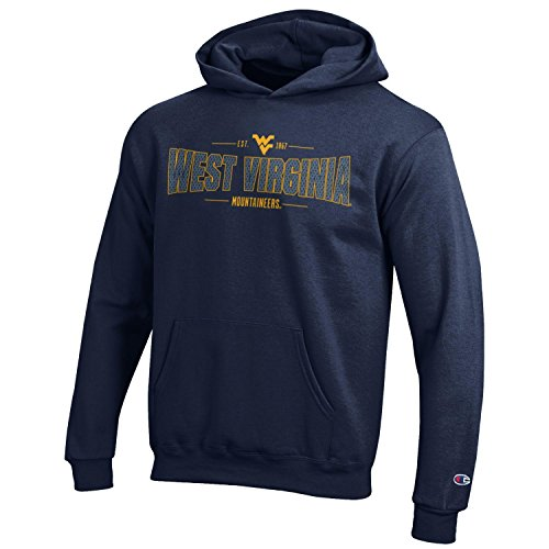 Mountaineers Men Virginia West Basketball - Champion NCAA Youth Long Sleeve Fleece Hoodie Boy's Collegiate Sweatshirt, West Virginia Mountaineers, Small