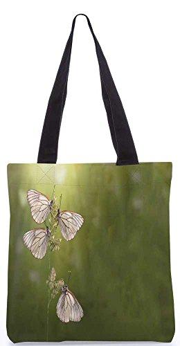 Snoogg Weißer Schmetterling Tragetasche 13,5 X 15 In Shopping-Dienstprogramm Tragetasche Aus Polyester Canvas