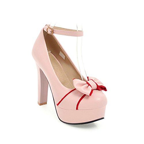 Zapatos de Mujer PU Cuero sintético Primavera Verano Novedad Comfort Heels Zapatos para Mujer Caminando tacón de Aguja Hebilla Redonda del Dedo del pie para la Boda Oficina