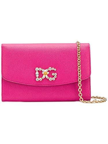 (Dolce E Gabbana Women's Bi1028az50380411 Pink Leather Shoulder Bag)