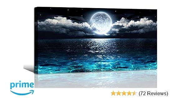 Amazoncom Wall Art Moon Sea Ocean Landscape Picture Canvas Wall