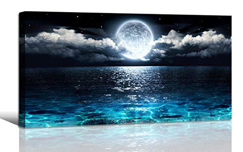 Wall Art Moon Sea Ocean Landscape Picture Canvas Wall Art Print Paintings Modern Artwork for Living Room Wall Decor and Home Décor Framed Ready to Hang,2cm Thick Frame, Waterproof Artwork. ()