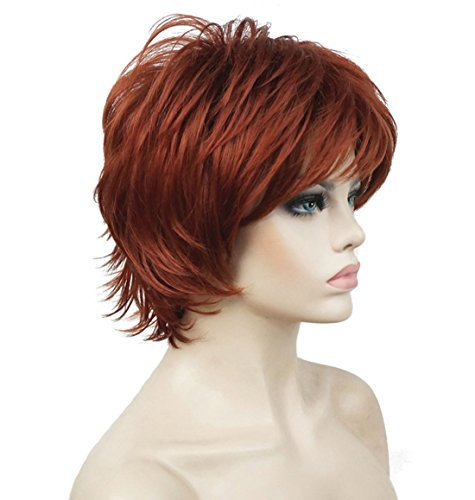 Lydell Short Layered Shaggy Full Synthetic Wig Wigs #130 Copper (Red 130 Wig)