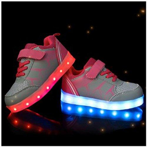 Carga con Zapatos LUZ Para GRIS Fiesta Brillantes junglest Para Niño Presente Baile Niña Zapatillas Toalla Pequeña Multicolor Deportivos Danza LED PUAvqt