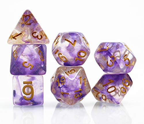 (DND Dice Set-Purple Mix Light Purple RPG Galaxy Swirl Dice for D&D Dungeons and Dragons Role Playing Game Polyhedral Transparent Dice with Glitter)