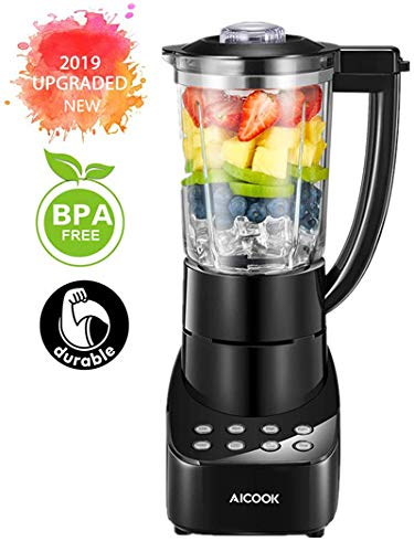 Blender Smoothie Blender 48oz Glass Jar Countertop Blender with Smart Speed Control, Stainless Steel Blade, Pulse/Ice Crush/Frozen Drinks Function Blender for Shakes and Smoothies, 700W, Aicook