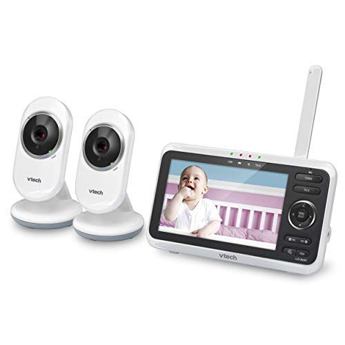 VTech VM350-2 5″ Video Baby Monitor with 5″ Screen, Long Range, Invision Infrared Night Vision, 2 Cameras, Multiple Viewing Options, Two Way Talk, Auto On Screen, Monitor with 2 Camera