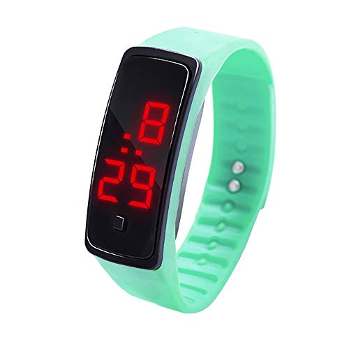 (Tantisy ♣↭♣ Children's Pedometer LED Watch Casual Sports Run Step Watch Rubber Fitness Tracker Bracelet Watch for Girl/Boy Green)
