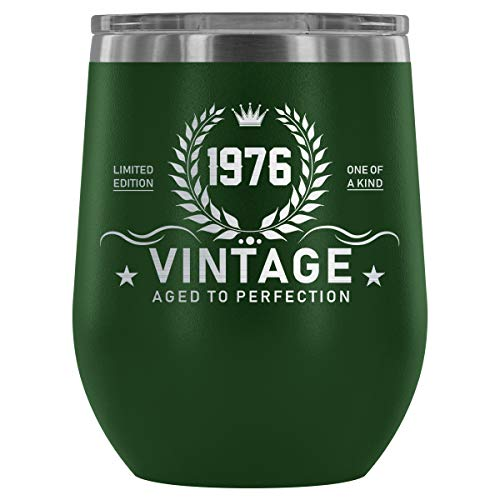 1976 43rd Birthday Gift Vintage Year for Women and Men Wine Tumbler - Limited Edition One Of Kind Vintage Aged To Perfection