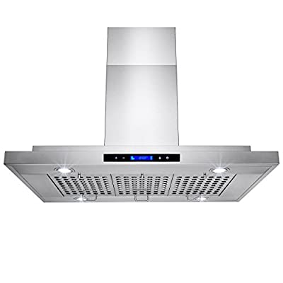 """AKDY 36"""" Stainless Steel Made Island Mount Powerful LED Display Touch Screen Control Cooking Fan Kitchen Range Hood"""
