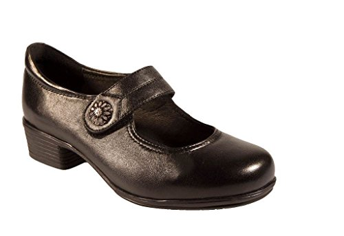 Width EEEE and Black Clasp Brown Decorative With Black Harriette Heel Fitting Wide 1½ Women 4E in OSIttq