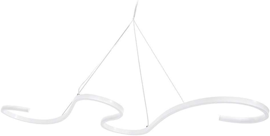 Modern LED Pendant Light 46W Acrylic Aluminum White Wave Shape Chandelier Fixture Ceiling Chandelier Lamp for Kitchen Bar Cafe Dining Room Table Living Room Office Lighting,4000k