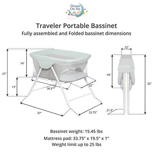 Dream On Me, Traveler Portable Bassinet,Starlight Blue