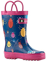 Kids Rubber Rain Boots With Easy-On Handles, Bees,...