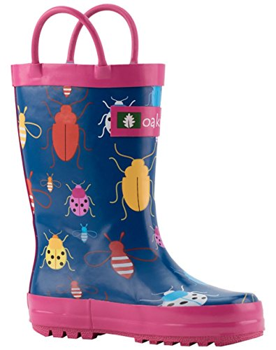 Oakiwear Kids Rubber Rain Boots With Easy-On Handles, Bees,