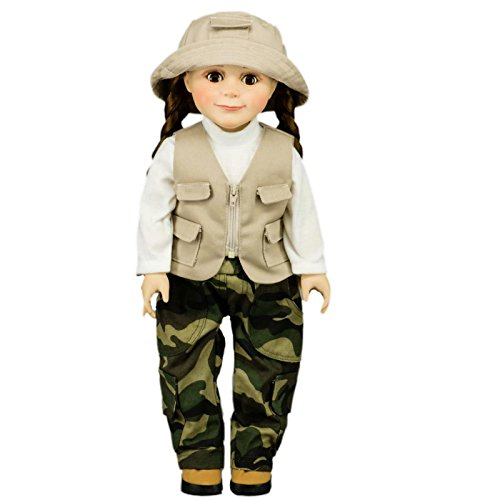 (Fishing Adventure Outfit; Pants, Vest, Shirt ,Hat Fits 18