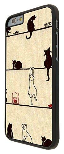 580 - Playing Cute Multi Cats Playfull Cats Fun Design iphone 6 6S 4.7'' Coque Fashion Trend Case Coque Protection Cover plastique et métal - Noir