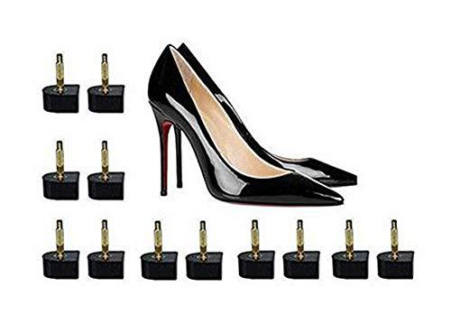 6 Pairs U-Shape Heel Tips Replacement Assorted Size 11mm 12mm 13mm Non-Slip High Heel Caps Protectors Shoe Repair Tip (Black) ()