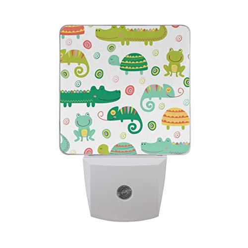 Plug-in Night Light, Colorful Reptile and Amphibian LED Nightlight, Dusk-to-Dawn Sensor for Bedroom Bathroom Kitchen Hallway Living Room