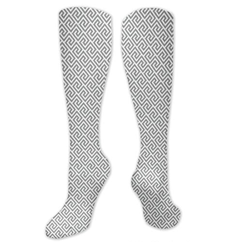 Compression Socks,Geometric Lines Abstract Pattern With Antique Motif In Grey Labyrinth Maze (Maze Runner Costume)