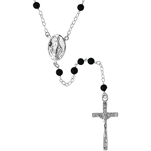 Sterling Silver Natural Rosary Necklace