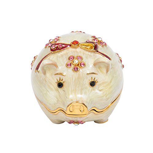 QIFU Hand Painted Enameled Cute Pig Decorative Hinged Jewelry Trinket Box Unique Gift for Home Decor