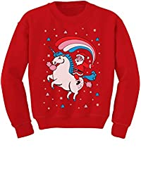 TeeStars - Santa Riding Unicorn Rainbow Ugly Christmas Youth Kids Sweatshirt